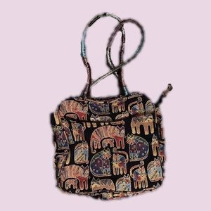 Large Laurel Burch Cat Pattern Shoulder Bag